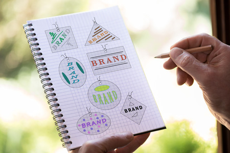 Hand drawing brand concept on a notepad