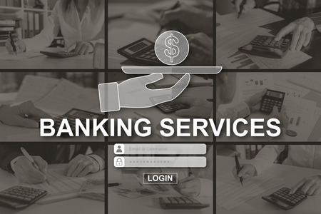 Banking services concept illustrated by pictures on background