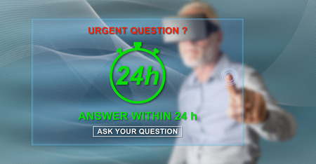 Man with vr headset touching an urgent questions concept on a touch screen with his finger Imagens