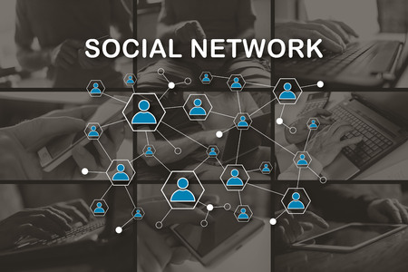 Social network concept illustrated by pictures on background