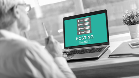 Laptop screen displaying a hosting concept Stok Fotoğraf