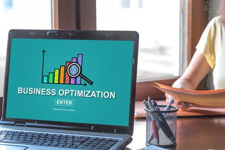 Laptop screen displaying a business optimization concept