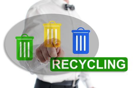 Recycling concept shown by a man in background