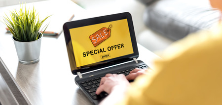 Laptop screen displaying a special offer concept