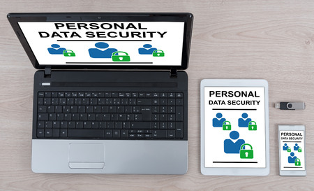 Personal data security concept shown on different information technology devices