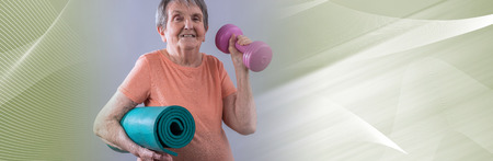 Happy old woman going for fitness. panoramic banner 写真素材