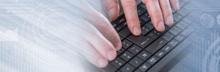 Hands typing on laptop computer, closeup. panoramic banner
