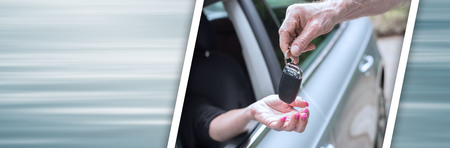 Man handing another person automobile keys. panoramic banner
