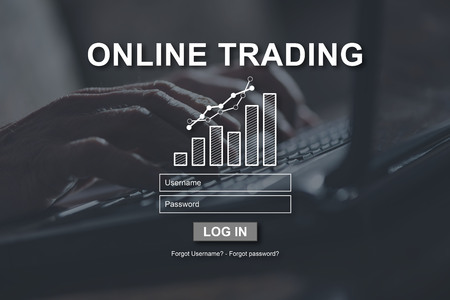 Online trading concept illustrated by a picture on background