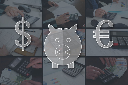 Money saving concept illustrated by pictures on background Stok Fotoğraf
