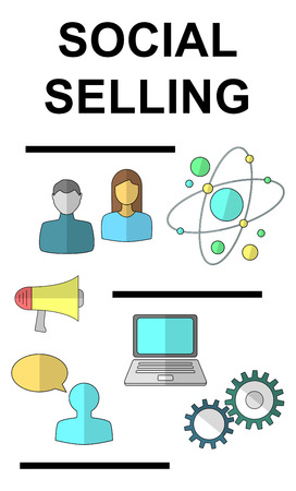 Social selling concept drawn on a white background Stok Fotoğraf
