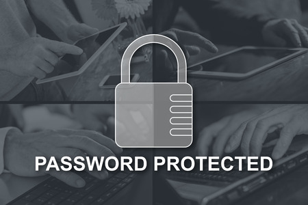 Password protected concept illustrated by pictures on background Stok Fotoğraf