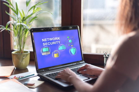 Laptop screen displaying a network safety concept