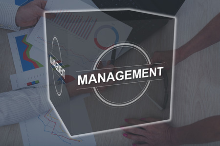 Management concept illustrated by a picture on background