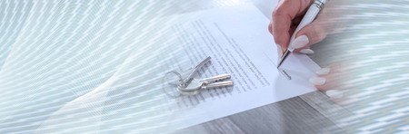 Female customer signing a real estate contract. panoramic banner