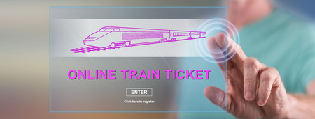 Man touching an online train ticket concept on a touch screen with his finger
