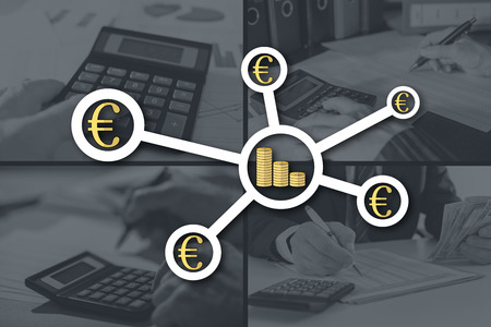 Banking network concept illustrated by pictures on background