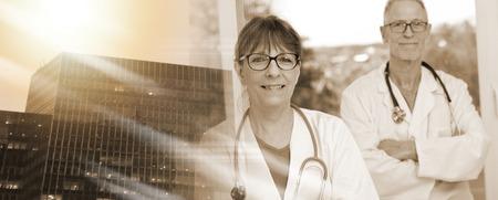 Portrait of two mature doctors; multiple exposure