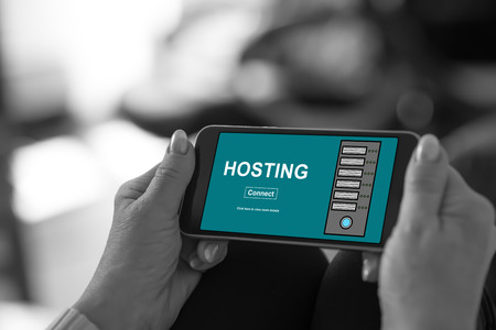 Smartphone screen displaying a hosting concept