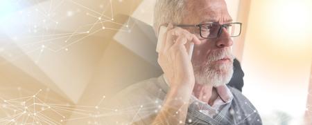 Portrait of bearded senior businessman talking on mobile phone in office, hard light; multiple exposure Stockfoto