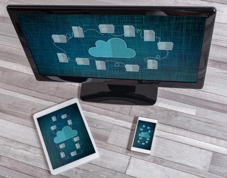 Cloud storage concept shown on different information technology devices Banco de Imagens