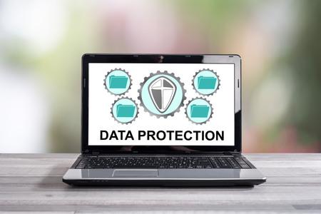 Data protection concept shown on a laptop screen Archivio Fotografico