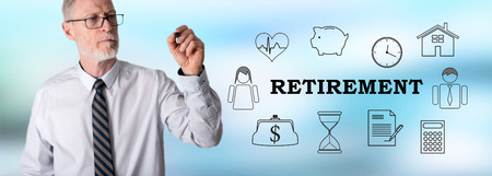 Retirement concept drawn by a businessman
