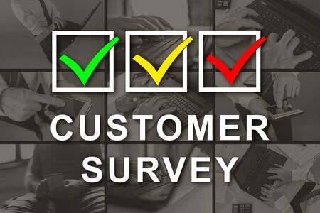 Customer survey concept illustrated by pictures on background