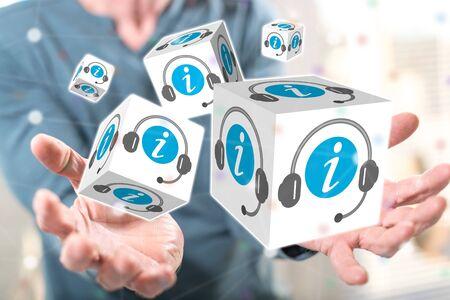 Online information concept above the hands of a man in background Reklamní fotografie