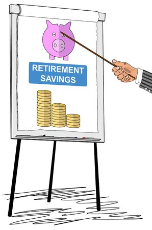 Hand showing retirement savings concept on a flipchart