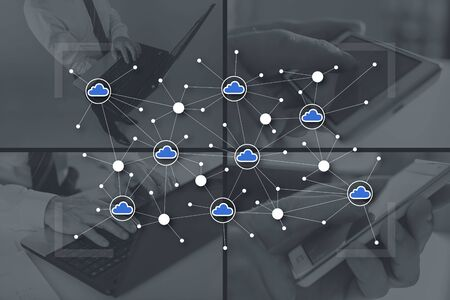 Cloud networking concept illustrated by pictures on background