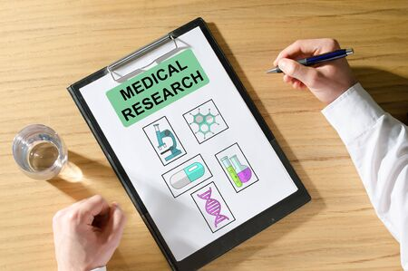 Medical research concept on a clipboard