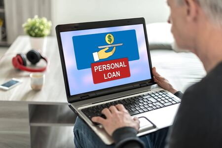 Laptop screen displaying a personal loan concept Stock Photo