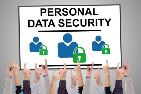 Personal data security concept on a whiteboard pointed by several fingers Stock fotó
