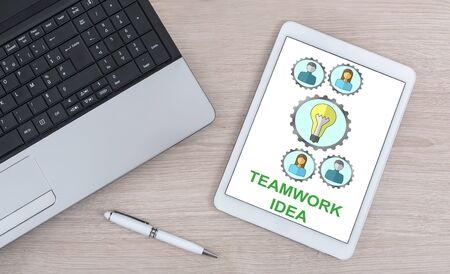 Teamwork idea concept shown on a digital tablet