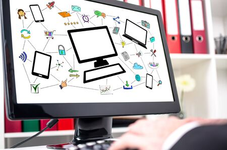 Network communication concept shown on a computer screen Reklamní fotografie