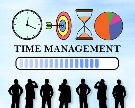 Silhouettes of men looking at a time management concept