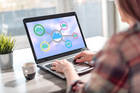Laptop screen displaying a cloud networking concept