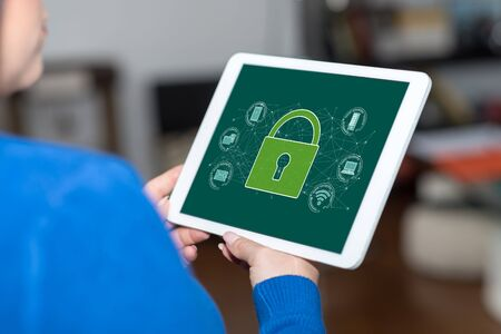 Tablet screen displaying a cyber security concept Reklamní fotografie