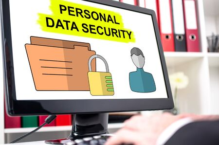 Personal data security concept shown on a computer screen