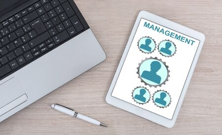 Management concept shown on a digital tablet