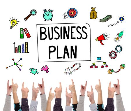Business plan concept on white background pointed by several fingers