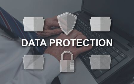 Data protection concept illustrated by a picture on background
