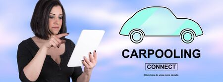 Woman using digital tablet with carpooling concept on background Foto de archivo - 125080406