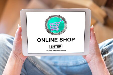 Tablet screen displaying an online shop concept