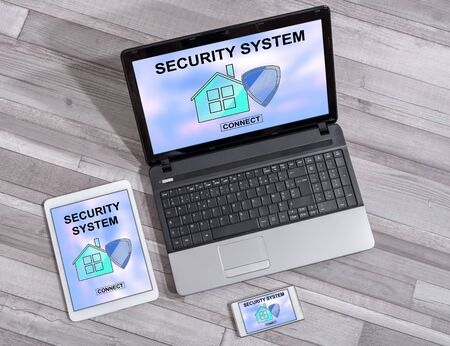 Home security system concept shown on different information technology devices