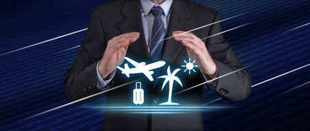 Travel insurance concept with businessman in a protective gesture Foto de archivo - 125080415