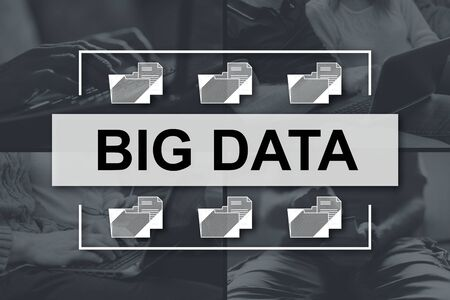 Big data concept illustrated by pictures on background