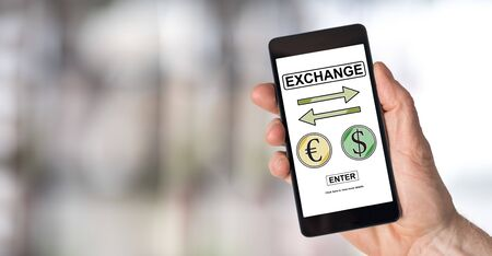 Smartphone screen displaying an exchange concept Stock Photo