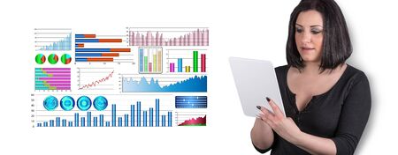 Woman using digital tablet with financial analysis concept on background